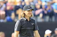 Tommy Fleetwood (ENG) sinks his birdie putt on the 14th green during Thursday's Round 1 of the 145th Open Championship held at Royal Troon Golf Club, Troon, Ayreshire, Scotland. 14th July 2016.<br /> Picture: Eoin Clarke | Golffile<br /> <br /> <br /> All photos usage must carry mandatory copyright credit (&copy; Golffile | Eoin Clarke)