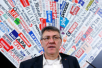 Maurizio Landini<br /> Rome February 8th 2019. Press conference of the newly elected secretary of CGIL trade union, the biggest syndicate in Italy.<br /> Foto Samantha Zucchi Insidefoto