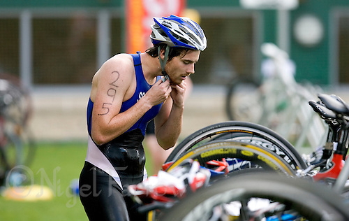 03 MAY 2009 - CALNE,GBR - Blair Cartmell (Stirling University) prepares to leave transition after T1 - BUCS Sprint Triathlon Championships '09. (PHOTO (C) NIGEL FARROW)