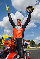 Sep 5, 2016; Clermont, IN, USA; NHRA pro stock motorcycle rider Andrew Hines celebrates after winning the US Nationals at Lucas Oil Raceway. Mandatory Credit: Mark J. Rebilas-USA TODAY Sports