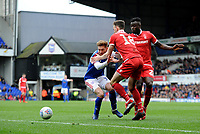 Ipswich Town's Teddy Bishop battles with Nottingham Forest's Jack Robinson and Pel&eacute;<br /> <br /> Photographer Hannah Fountain/CameraSport<br /> <br /> The EFL Sky Bet Championship - Ipswich Town v Nottingham Forest - Saturday 16th March 2019 - Portman Road - Ipswich<br /> <br /> World Copyright &copy; 2019 CameraSport. All rights reserved. 43 Linden Ave. Countesthorpe. Leicester. England. LE8 5PG - Tel: +44 (0) 116 277 4147 - admin@camerasport.com - www.camerasport.com