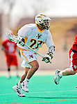 19 March 2011: University of Vermont Catamount Midfielder Ahmad Zachary, a Freshman from Lower Merion, PA, in action against the St. John's University Red Storm at Moulton Winder Field in Burlington, Vermont. The Catamounts defeated the visiting Red Storm 14-9. Mandatory Credit: Ed Wolfstein Photo