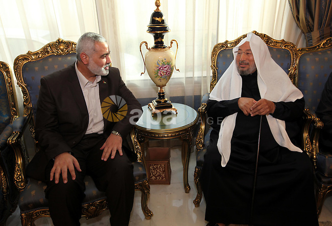 Palestinian Prime Minister in Gaza Strip, Ismail Haniyah, Visit Shaykh ,Yusuf al-Qaradawi, in the Qatari capital of Doha on Feb. 03, 2012. Photo by Mohammed Al-Ostaz