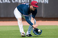 NWA Democrat-Gazette/CHARLIE KAIJO Northwest Arkansas Naturals left fielder Brandon Downes (26) makes a catch during a baseball game, Sunday, May 13, 2018 at Arvest Ballpark in Springdale.