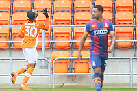 Nathan Delfouneso of Blackpool FC celebrates scoring his third goal of the game during the Sky Bet League 1 match between Blackpool and Bradford City at Bloomfield Road, Blackpool, England on 7 April 2018. Photo by Thomas Gadd.