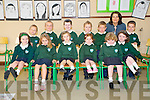 Kayla Kelliher, Holly Richardson, Maria Culhane, Lori O'Connor, Amy Breen, Keeva Coffey, David O'Donoghue, Cian Kissane, Paddy Doody, Sean Kissane, Gary Doona and Cathal Lynch with teacher Una White during their first week in the school on Friday.........