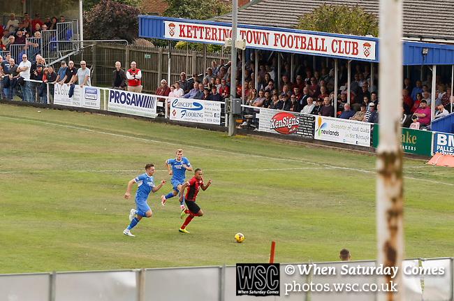 Kettering attack during the first half. Kettering Town 1 Leiston 2, Evo Stick Southern League Premier Central, Latimer Park. Kettering Town are a famous name in non-league football. After financial problems, relegations, and relocation, the club are once again upwardly mobile. Despite losing to Leiston, Kettering finished the season as Champions and were promoted to the National League North.
