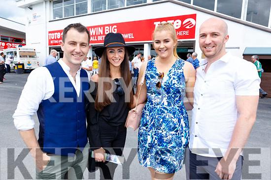 Conor O'Neill (Listowel), Angela O'Connor (Six Crosses), Aoife O'Connell (Listowel) and David Lyons (Listowel) at the Listowel Races on Sunday.