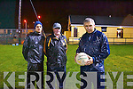 Up the Rock.<br /> ---------------<br /> Stephan Stack,Austin Stacks manager(Rt)and his back up team of Ciaran McCabe(Lt)and John Joe Sugrue at the start of the training session last Friday night in Listowel.