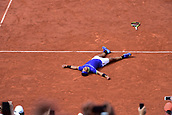 June 11th 2017, Roland Garros, paris, France; French Open tennis championship, mens singles final; Rafael Nadal versus Stan Wawrinka; Rafael Nadal (esp) falls to the ground after the final shot for his win