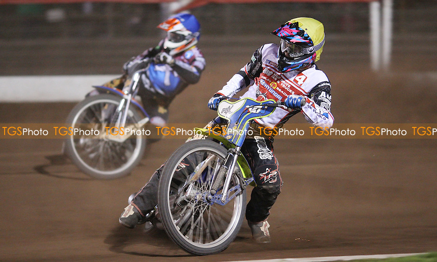 Heat 15: Jason Doyle (yellow) and Peter Karlsson (blue) - Lakeside Hammers vs Swindon Robins, Elite League Speedway at the Arena Essex Raceway, Pufleet - 18/05/12 - MANDATORY CREDIT: Rob Newell/TGSPHOTO - Self billing applies where appropriate - 0845 094 6026 - contact@tgsphoto.co.uk - NO UNPAID USE..