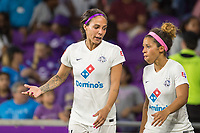 Orlando, FL - Saturday July 15, 2017: Sydney Leroux, Desiree Scott during a regular season National Women's Soccer League (NWSL) match between the Orlando Pride and FC Kansas City at Orlando City Stadium.
