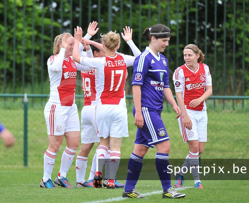RSC Anderlecht Dames - Ajax Amsterdam : vreugde bij Ajax na de 0-3.foto DAVID CATRY / Nikonpro.be