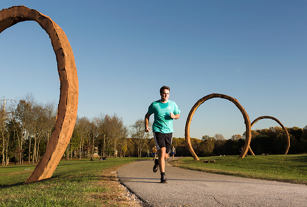 November 11, 2015. Raleigh, NC.<br /> A man runs along the North Carolina Museum of Art's greenway trails.