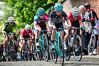Picture by Alex Whitehead/SWpix.com - 14/05/2017 - Cycling - 2017 HSBC UK | National Women's Road Series - Lincoln Grand Prix - Drops' Alice Barnes climbs the Michaelgate cobbles.