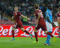 Josef Husbauer  celebrates after scores  during theEuropa League   soccer match between SSC Napoli and Sparta Praha  at  the San Paolo   stadium in Naples  Italy , september 18 , 2014