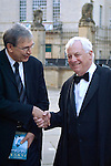 Orhan Pamuk and Lord Patten shake hands before the Chancellor's Lecture at the Sheldonian Theatre, during the FT Weekend Oxford Literary Festival, Oxford, UK. Saturday 29 March 2014.<br /> <br /> PHOTO COPYRIGHT Graham Harrison<br /> graham@grahamharrison.com<br /> <br /> Moral rights asserted.