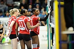 Rüsselsheim, Germany, April 13: Dominique Lamb #2 of the Rote Raben Vilsbiburg gestures during play off Game 1 in the best of three series in the semifinal of the DVL (Deutsche Volleyball-Bundesliga Damen) season 2013/2014 between the VC Wiesbaden and the Rote Raben Vilsbiburg on April 13, 2014 at Grosssporthalle in Rüsselsheim, Germany. Final score 0:3 (Photo by Dirk Markgraf / www.265-images.com) *** Local caption ***
