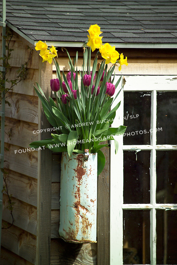 decorative wall vase with spring flowers