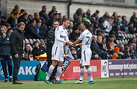 Nick Freeman of Wycombe Wanderers replaces Scott Kashket of Wycombe Wanderers during the Sky Bet League 2 match between Barnet and Wycombe Wanderers at The Hive, London, England on 17 April 2017. Photo by Andy Rowland.