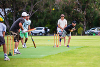 Margaret River, Western Australia (Tuesday, March 19, 2013) A friendly game of cricket between the 'Blow Ins' and the Dunsborough Squeezers  was held on the lay day. The Blow Ins won the match.- Competition on Day Four of the Drug Aware Margaret River Pro had been called off because small surf at the main break at Margaret River giving the surfers a chance to run the yearly cricket match. Adrian Buchan (AUS) bowling..Photo: joliphotos.com