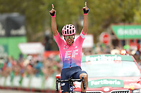 ESPAÑA, 12-09-2019: Sergio Higuita (COL - EF Education First) celebra después de ganar la etapa 18, hoy, 12 de septiembre de 2019, que se corrió entre Comunidad de Madrid. Colmenar Viejo y Becerril de la Sierra con una distancia de 177,5 km como parte de La Vuelta a España 2019 que se disputa entre el 24/08 y el 15/09/2019 en territorio español. / Sergio Higuita (COL - EF Education First) celebrates after winning stage 18 today, September 12, 2019, from Comunidad de Madrid. Colmenar Viejo to Becerril de la Sierra with a distance of 177,5 km as part of Tour of Spain 2019 which takes place between 08/24 and 09/15/2019 in Spain.  Photo: VizzorImage / Luis Angel Gomez / ASO<br /> VizzorImage PROVIDES THE ACCESS TO THIS PHOTOGRAPH ONLY AS A PRESS AND EDITORIAL SERVICE AND NOT IS THE OWNER OF COPYRIGHT; ANOTHER USE HAVE ADDITIONAL PERMITS AND IS  REPONSABILITY OF THE END USER
