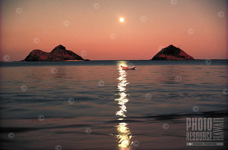 Lanikai w/ Moku Lua Islands and full moon, Oahu