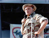 Bob Hope performs during the USO Christmas Show which included stops at military bases in Spain and the Philippines.  Shown is a scene from the show produced for servicemen aboard the USS OKINAWA (LPH-3) at anchor off the coast of Bahrain in the Persian Gulf on December 26, 1987.<br /> Mandatory Credit: J. Alan Elliott / DoD via CNP