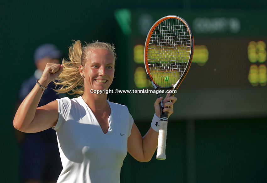 England, London, June 29, 2015, Tennis, Wimbledon, Richel Hogenkamp (NED) Jubilates her victory over Qiang Wang from China<br /> Photo: Tennisimages/Henk Koster
