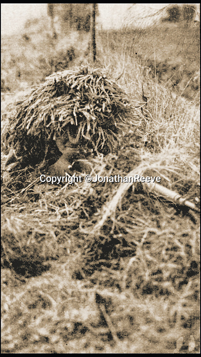 BNPS.co.uk (01202 558833)<br /> Pic: JonathanReeve/BNPS<br /> <br /> A Home Guard sniper in position.<br /> <br /> A new book about the overzealous, trigger-happy capers of the Home Guard reveals just how close to reality the much-loved TV sitcom Dad's Army really was.<br /> <br /> Author Norman Longmate has compiled some of the most farcical tales of life in the wartime volunteer service, including a hedgehog mistaken for a paratrooper and a private who melted his boots.<br /> <br /> The book, The Real Dad's Army, is being published as the popular comedy series gets a big screen reboot with star names including Bill Nighy, Catherine Zeta-Jones and Michael Gambon.