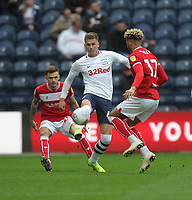 Preston North End's Brad Potts in action with Bristol City's Lloyd Kelly<br /> <br /> Photographer Mick Walker/CameraSport<br /> <br /> The EFL Sky Bet Championship - Preston North End v Bristol City - Saturday 2nd March 2019 - Deepdale Stadium - Preston<br /> <br /> World Copyright © 2019 CameraSport. All rights reserved. 43 Linden Ave. Countesthorpe. Leicester. England. LE8 5PG - Tel: +44 (0) 116 277 4147 - admin@camerasport.com - www.camerasport.com