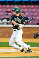 Shane Basen #8 of the Charlotte 49ers follows through on his swing against the Wake Forest Demon Deacons at Gene Hooks Field on March 22, 2011 in Winston-Salem, North Carolina.   Photo by Brian Westerholt / Four Seam Images