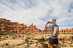 lone man, in wilderness, Canyonlands National Park, Utah, Backpacking, Chesler Park Trail, Elephant Canyon, the Needles District, Scott McCredie, Southwest, United States, USA,
