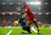 Liverpool's Sadio Mane gets the better of Manchester United's Ander Herrera<br /> <br /> Photographer AlexDodd/CameraSport<br /> <br /> The Premier League - Liverpool v Manchester United - Sunday 16th December 2018 - Anfield - Liverpool<br /> <br /> World Copyright © 2018 CameraSport. All rights reserved. 43 Linden Ave. Countesthorpe. Leicester. England. LE8 5PG - Tel: +44 (0) 116 277 4147 - admin@camerasport.com - www.camerasport.com