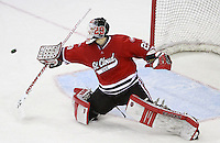 St. Cloud State goalie Ryan Faragher. St. Cloud State and Nebraska-Omaha skated to a 2-2 tie on Nov. 27, 2011. (Photo by Michelle Bishop)..