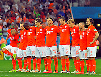 SAO PAULO - BRASIL -09-07-2014. Jugadores de Holanda (NED) durante los cobros de tiro penal en el partido de las semifinales contra Argentina (ARG) por la Copa Mundial de la FIFA Brasil 2014 jugado en el estadio Arena de Sao Paulo./ Players of Netherlands (NED) during the penalty kick in the match of the Semifinal against Argentina (ARG) for the 2014 FIFA World Cup Brazil played at Arena de Sao Paulo stadium. Photo: VizzorImage / Alfredo Gutiérrez / Contribuidor