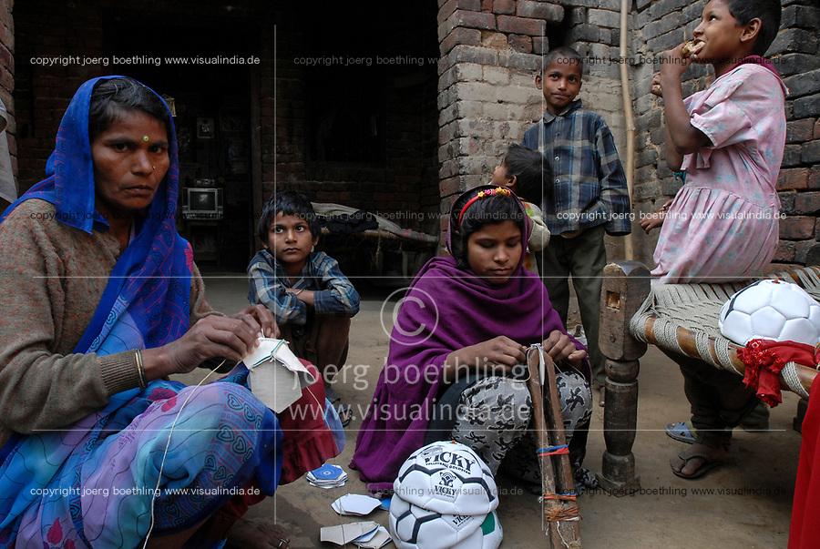 INDIA Uttar Pradesh, Meerut , village Kurali, cottage industry, children of dalit families stitch football of indian brand Vicky