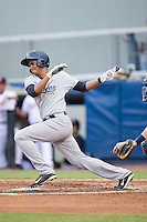 Leonardo Molina (71) of the Pulaski Yankees follows through on his swing against the Danville Braves at American Legion Post 325 Field on August 2, 2016 in Danville, Virginia.  The game was cancelled due to rain.  (Brian Westerholt/Four Seam Images)