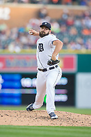 Detroit Tigers starting pitcher Michael Fulmer (32) in action against the Chicago White Sox at Comerica Park on June 2, 2017 in Detroit, Michigan.  The Tigers defeated the White Sox 15-5.  (Brian Westerholt/Four Seam Images)
