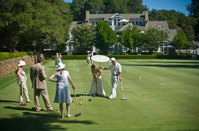 Wedding party learns croquet at Meadowood Resort