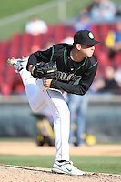 April 17 2010: Justin Marks of the Kane County Cougars at Elfstrom Stadium in Geneva, IL. The Kernels are the Low A affiliate of the Oakland Athletics. Photo by: Chris Proctor/Four Seam Images
