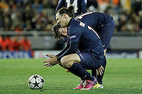 Paris Saint-Germain's Zlatan Ibrahimovic (l) and Maxwell during Champions League 2012/2013 match.February 12,2013. (ALTERPHOTOS/Acero)
