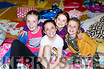 Clodagh Clancy, Leah Forde, Grace Cox and Clodagh Daly at the Gaelscoil Faithleann cinema night in Killarney Sports Centre on Friday evening