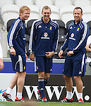 Barry Robson, Darren Fletcher and Charlie Adam laughing at Scotland training
