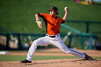 Frederick Keys relief pitcher Tyler Erwin (47) delivers a pitch during the first game of a doubleheader against the Lynchburg Hillcats on June 12, 2018 at Nymeo Field at Harry Grove Stadium in Frederick, Maryland.  Frederick defeated Lynchburg 2-1.  (Mike Janes/Four Seam Images)