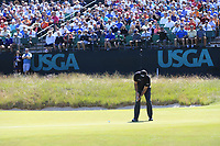 Phil Mickelson (USA) putts on the 16th green during Thursday's Round 1 of the 118th U.S. Open Championship 2018, held at Shinnecock Hills Club, Southampton, New Jersey, USA. 14th June 2018.<br /> Picture: Eoin Clarke | Golffile<br /> <br /> <br /> All photos usage must carry mandatory copyright credit (&copy; Golffile | Eoin Clarke)