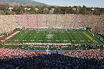 A general view of Rose Bowl Stadium during the opening kickoff of the Wisconsin Badgers 2012 Rose Bowl NCAA football game against the Oregon Ducks in Pasadena, California on January 2, 2012. The Ducks won 45-38. (Photo by David Stluka)