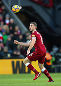 17th March 2018, Anfield, Liverpool, England; EPL Premier League football, Liverpool versus Watford; Jordan Henderson of Liverpool in action in midfield during the second half