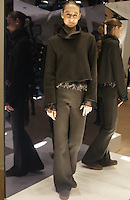 Model in Look 19: Army Green Sweater Knit Sweatshirt, Autumn Lilies Top, Army Green Sweater Knit Pant