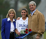 Duke's Jenny Alleva (17) poses with her father, Joe Alleva - Duke's Athletic Director, and mother, Annie Alleva, during Duke's Senior Day on Sunday, October 22nd, 2006 at Koskinen Stadium in Durham, North Carolina. The Duke Blue Devils defeated the Florida State University Seminoles 3-1 in an Atlantic Coast Conference NCAA Division I Women's Soccer game.